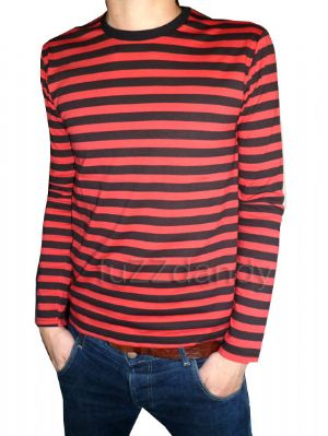 Mens Longsleeve Stripey Top (red & black)